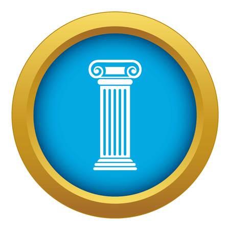 Roman column icon blue vector isolated