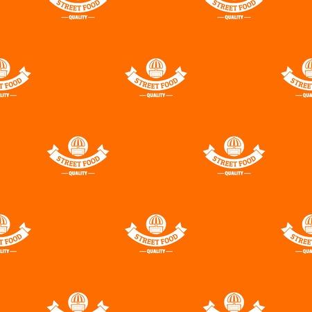 Quality street food pattern vector orange Ilustração