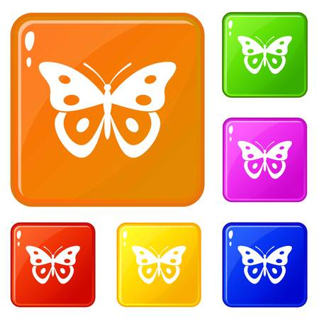Butterfly pierid icons set vector color Stock Illustratie
