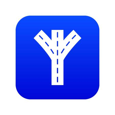 Road fork icon blue vector