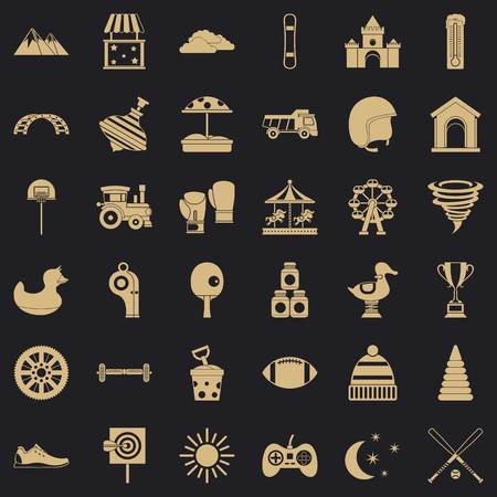 Children game icons set, simple style