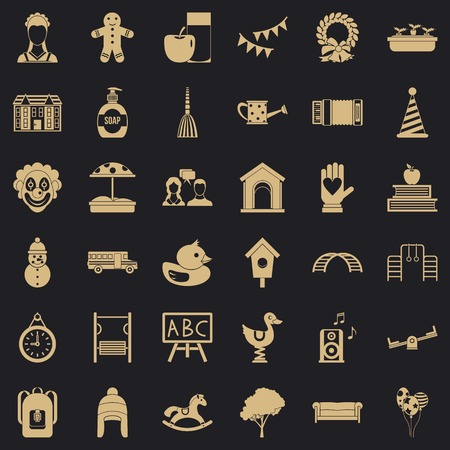 Childcare icons set, simple style