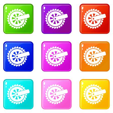 Cogwheel icons set 9 color collection Illustration
