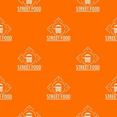 Street food pattern vector orange Ilustração