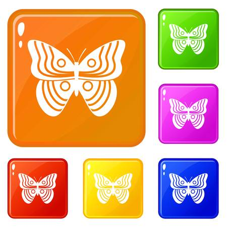 Stripped butterfly icons set vector color Stock Illustratie