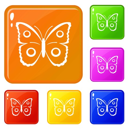Butterfly peacock eye icons set vector color