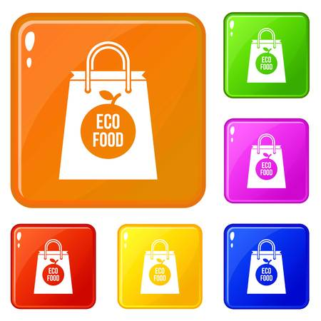 Eco food bag icons set collection vector 6 color isolated on white background