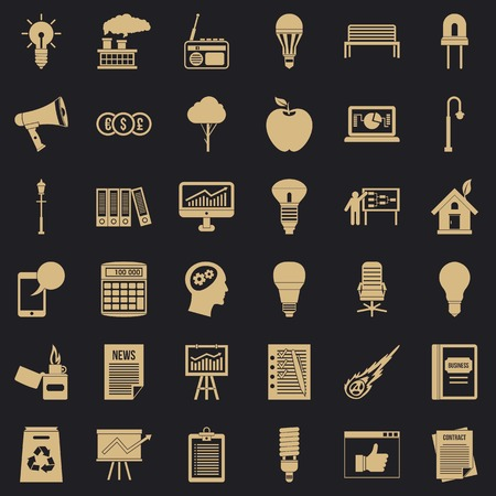 Lamp icons set, simple style