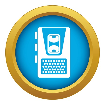 Dictaphone icon blue vector isolated