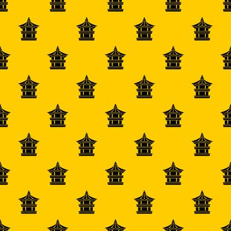 Traditional korean pagoda pattern seamless vector repeat geometric yellow for any design
