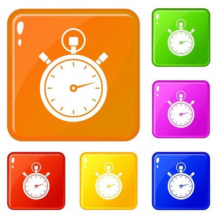 Stopwatch icons set collection vector 6 color isolated on white background Banque d'images - 130241846