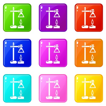 Chemical process icons set 9 color collection isolated on white for any design