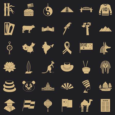 Location icons set, simple style