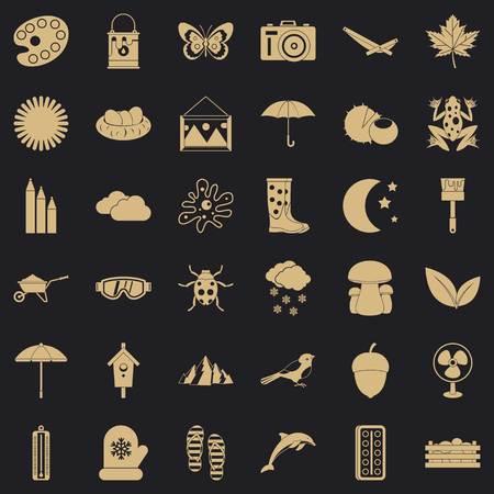 Landscape icons set, simple style