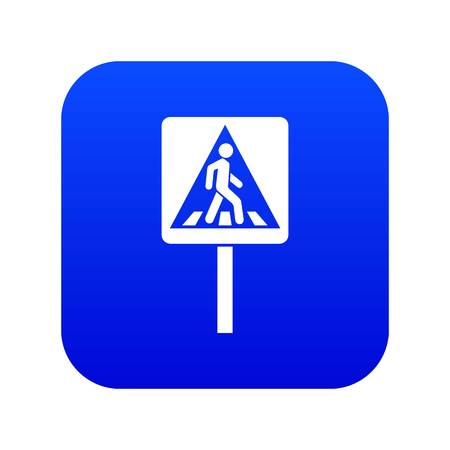 Pedestrian sign icon digital blue for any design isolated on white vector illustration Illusztráció