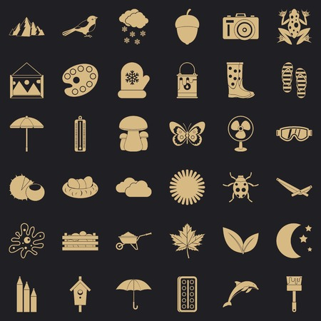 Mitten icons set, simple style