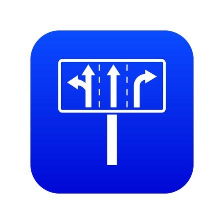 Traffic lanes at crossroads junction icon digital blue for any design isolated on white vector illustration Ilustração