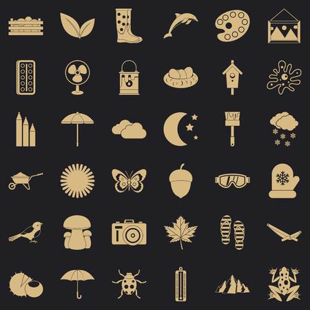 Autumn icons set. Simple style of 36 autumn vector icons for web for any design