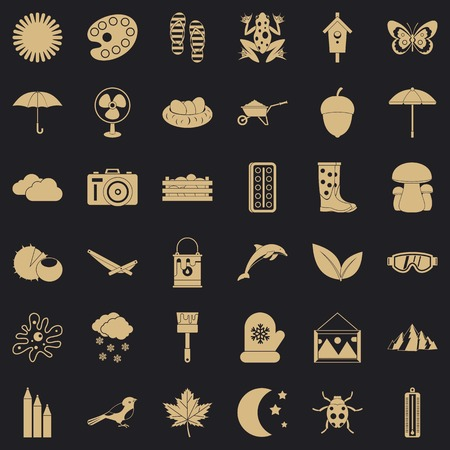 Season icons set, simple style