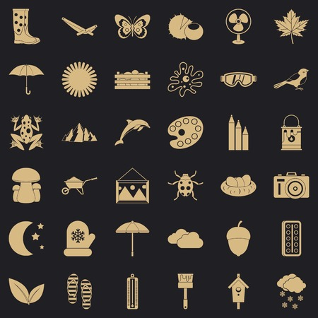Summer icons set, simple style