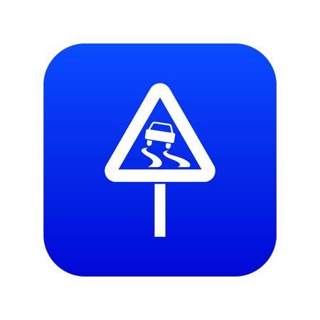 Slippery wet road sign icon digital blue for any design isolated on white vector illustration