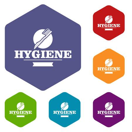 Hygiene mouth icons vector colorful hexahedron set collection isolated on white