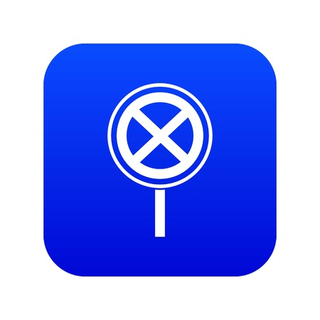 No stopping and parking sign icon digital blue