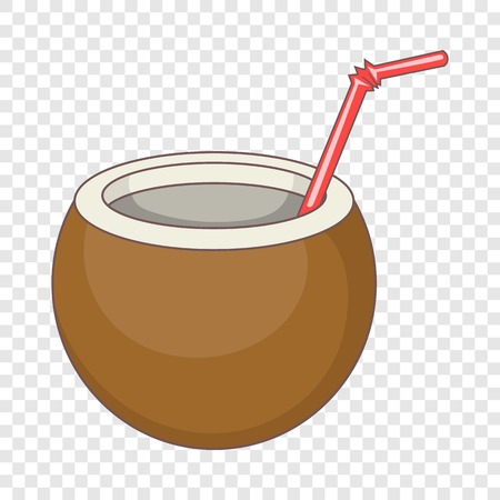 Coconut cocktail icon. Cartoon illustration of coconut cocktail vector icon for web design