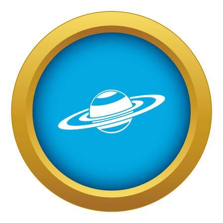 L'icône des anneaux de Saturne vecteur bleu isolé sur fond blanc pour toute conception