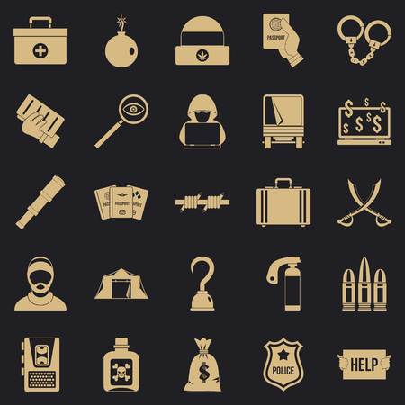 Misconduct icons set, simple style