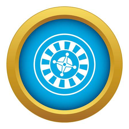 Casino gambling roulette icon blue vector isolated on white background for any design