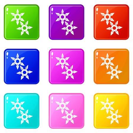 Ninja stars icons set 9 color collection
