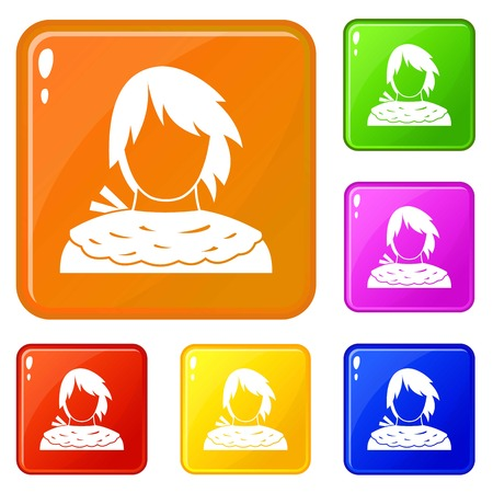 Male shorn icons set collection vector 6 color isolated on white background Çizim