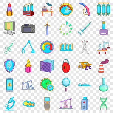 Indicator icons set, cartoon style Vector Illustration