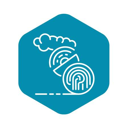 Fingerprint satellite signal icon, outline style