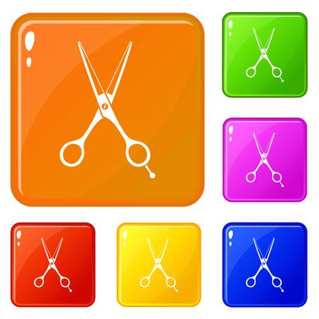 Scissors icons set vector color Vectores