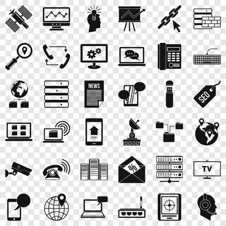Internet icons set, simple style