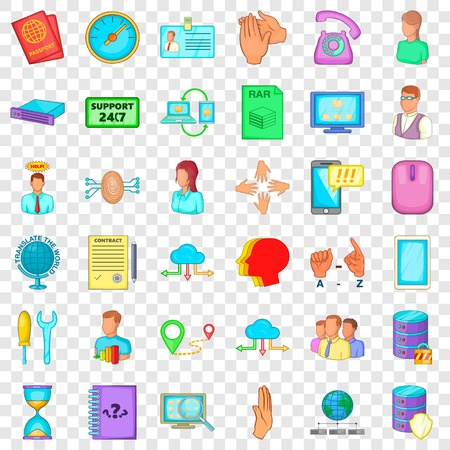 All day icons set, cartoon style Illustration