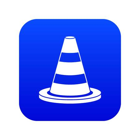 Traffic cone icon digital blue for any design isolated on white vector illustration