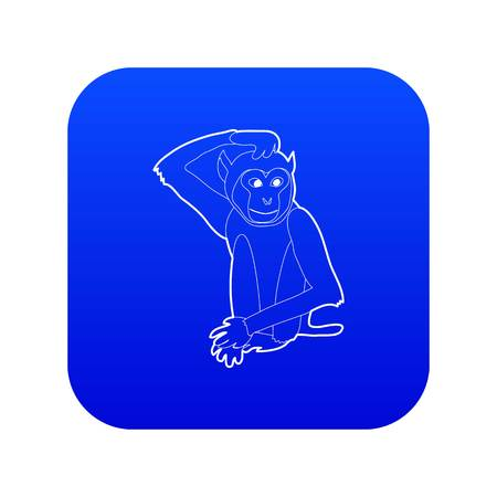 Brooding monkey icon blue vector isolated on white background