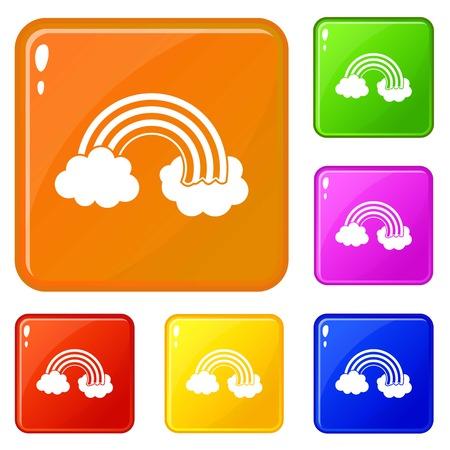 Rainbow LGBT icons set vector color Illustration