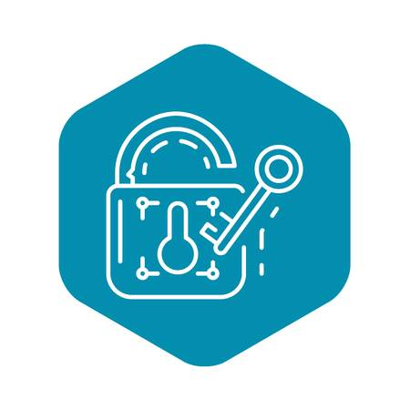 Unlock device security icon. Outline unlock device security vector icon for web design isolated on white background Çizim