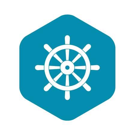 Wooden ship wheel icon simple Illustration