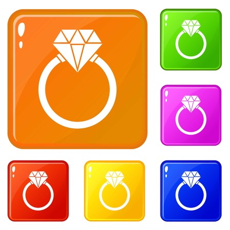 Ring LGBT icons set vector color