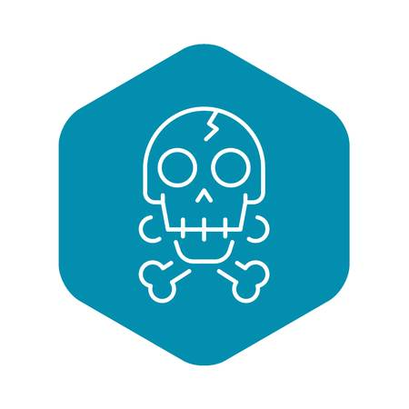 Crack skull bone icon, outline style 矢量图像