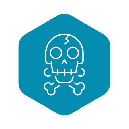 Crack skull bone icon, outline style Illustration