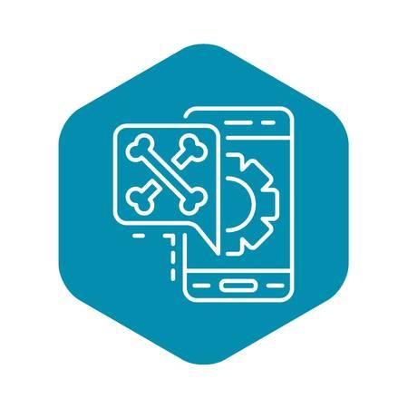 Virus smartphone icon, outline style
