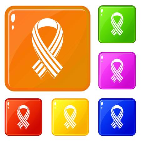 Ribbon LGBT icons set vector color