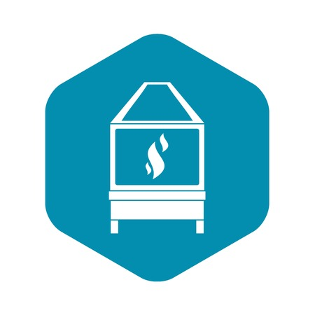 Blacksmith oven with flame fire icon in simple style isolated vector illustration