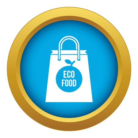 Eco food bag icon blue vector isolated on white background for any design